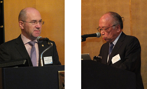 HySafe president A. Tchouvelev (left) and Prof. K. Ota, chair of the Organizing Committee, welcomed the participants